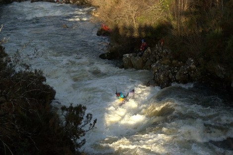 Muireann Lynch digging deep while navigating this difficult section of whitewater